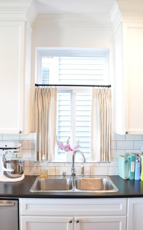 Kitchen cafe curtains transitional kitchen - Curtain ideas for kitchen sink window ...