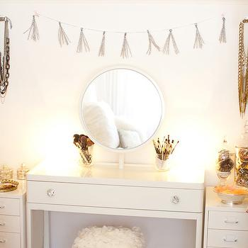 The Glitter Guide - bedrooms - confetti garland, silver confetti garland, vanity, white vanity, make up vanity, white male up vanity, lacquer vanity, white lacquer vanity, lacquered vanity, white lacquered vanity, flower stool, flower vanity chair, vanity mirror,