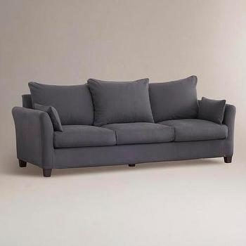 Seating - Charcoal Luxe Three-Seat Sofa Canvas Slipcover Collection | World Market - charcoal, luxe, sofa