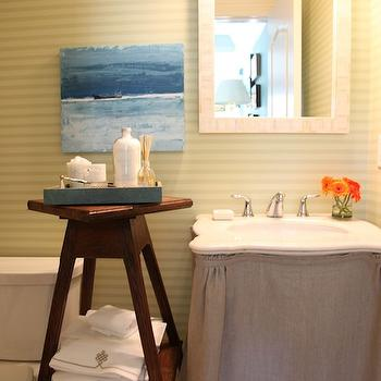 Tammy Connor Interior Design - bathrooms - skirted sink, skirted vanity, skirted vanity sink, burlap skirted sink, burlap skirted vanity, burlap skirted vanity sink, horizontally striped wallpaper, yellow striped wallpaper, yellow horizontally striped wallpaper, mother of pearl mirror, bone inlay mirror, capiz mirror, rectangular capiz mirror, rectangle capiz mirror, blue tray, rustic bathroom bench, rustic etagere, rustic wood etagere,