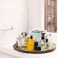 The Glitter Guide - bathrooms - mirrored tray, mirrored fragrance tray, mirrored bathroom tray,  Heidi Merrick - Mirrored fragrance tray.