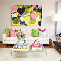 Teen Vogue - living rooms - square, acrylic, coffee table, books, white, flokati, rug, pink, green, yellow, pillow covers, dust cover, bags, lucite table, lucite coffee table, Crate & Barrel Petrie Sofa, Kerri Rosenthal Art, Barcelona Chair,