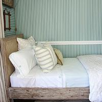 Tammy Connor Interior Design - bedrooms - taupe, drapes, salvaged, wood, French, cane, bed, pale, blue, sheets, French, vintage, grain sack, rug,