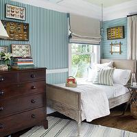 Tammy Connor Interior Design - boy's rooms - blue, striped, wallpaper, chair rail, taupe, roman shade, drapes, teal, blue, trim, French, vintage, cane, bed, cherry, chest, yellow, glass, lamp, butterfly, shadow boxes,