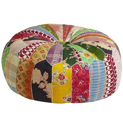 Seating - Old Bengali Patch Pouf Ottoman - Pier1 US - old, bengali, patch, pouf