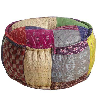 Seating - Repurposed Ikat Sari Pouf-Multi - Pier1 US - repurposed, ikat, sari, pouf