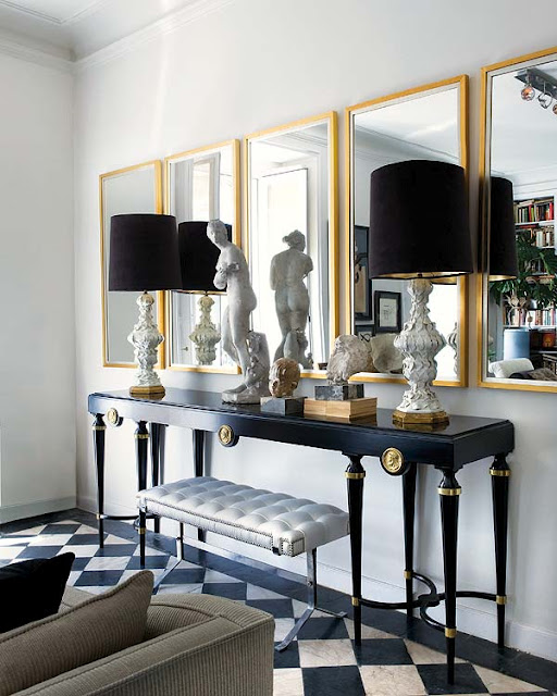 Black And Gold Living Room Eclectic