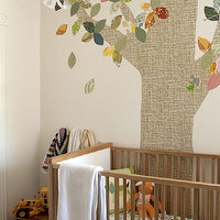 HGTV - nurseries - boys nursery, boys nursery design, tree wall mural, mid century modern crib,  Adorable boy's nursery design with tree wall