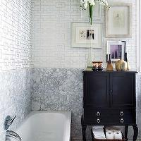 Nuevo Estilo - bathrooms - marble, slab, backsplash, silver, fretwork, wallpaper, tub, vintage, black, cabinet,  Silver fretwork wallpaper, marble