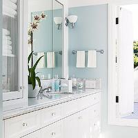 BHG - bathrooms - blue, walls, white, bathroom cabinets, marble, tops,  Blue walls paint color, white bathroom vanity with marble countertop