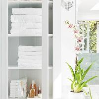 BHG - bathrooms - orchid, glass-front, bathroom cabinets,  Glass-front bathroom cabinets and orchid.