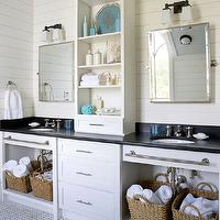BHG - bathrooms - ivory, groove, walls, rectangular, pivot, mirrors, white, double bathroom vanity, black, tops, woven, baskets, marble, basketweave, tiles, floor, turquoise, blue, accents,