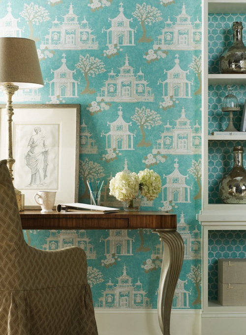 York Wallcoverings - dens/libraries/offices - York Wallcoverings Pagoda Birdhouse Wallpaper, turquoise wallpaper, chinoiserie wallpaper, turquoise chinoiserie wallpaper, chinoiserie turquoise wallpaper, pagoda wallpaper, turquoise pagoda wallpaper, york wallpaper, desk, slipcovered desk chair, open bookshelf, white bookshelf, white open bookshelf,