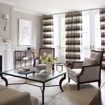 Striped Curtains, Transitional, living room, Kim Scodro Interiors
