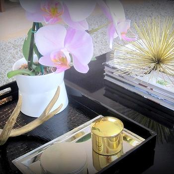 The Cuban in My Coffee - living rooms - decorative urchin, brass urchin, decorative brass urchin, black coffee table, styled coffee table, decorative antler, black tray, black lacquer coffee table, lacquer coffee table, , Brass Urchin Accent,