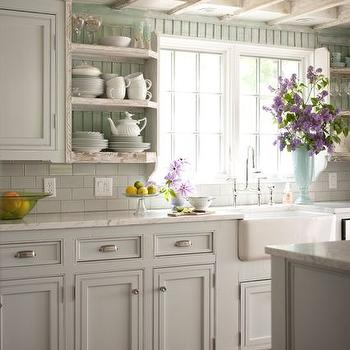Painted Beadboard Backsplash, Cottage, kitchen, BHG
