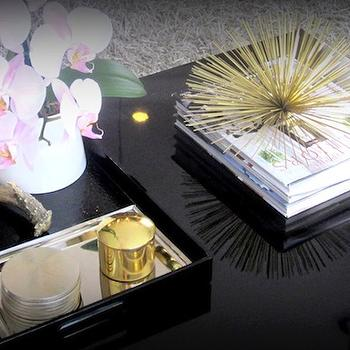 The Cuban in My Coffee - living rooms - black lacquer tray, black tray, decorative urchin, brass urchin, decorative brass urchin, black coffee table, styled coffee table, decorative antler, , Brass Urchin Accent,