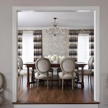 Horizontal Striped Curtains, Transitional, dining room, Kim Scodro Interiors,