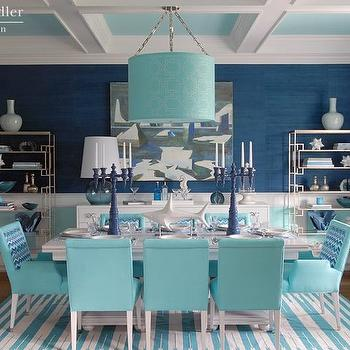 Blue Grasscloth Wallpaper, Cottage, dining room, Pratt and Lambert Azurean, Mabley Handler