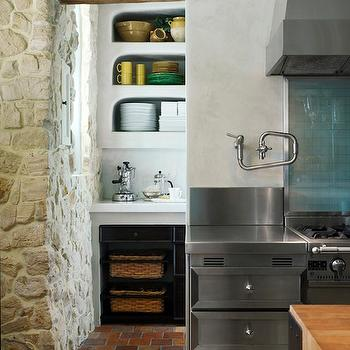 de Giulio Kitchen Design - kitchens - brick floor kitchen, brick floor, brick floor pantry, brick floor kitchen pantry, stone walls, kitchen stone walls, rustic kitchen,