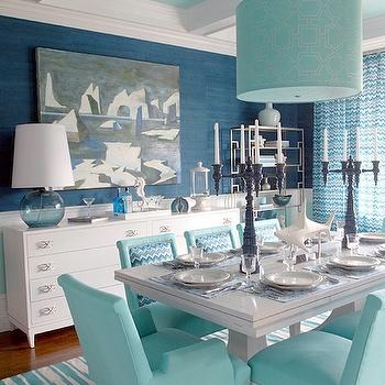 Turquoise Dining Room, Cottage, dining room, Pratt and Lambert Azurean, Mabley Handler