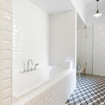 Beveled Subway Tile Shower, Contemporary, bathroom, Linda Bergroth