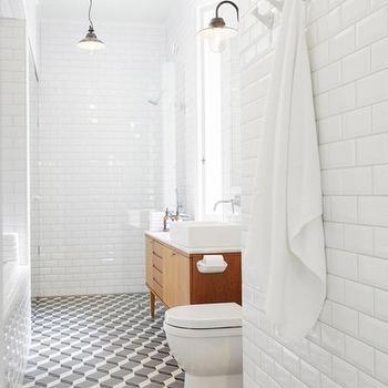 Beveled Subway Tile, Contemporary, bathroom, Linda Bergroth