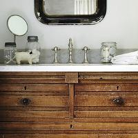 New England Home - bathrooms - washstand, salvaged wood washstand, reclaimed wood washstand, salvaged wood vanity, salvaged wood bathroom vanity, reclaimed wood vanity, reclaimed wood bathroom vanity, carrara marble, carrara marble top vanity, black mirror, vintage mirror, apothecary jars, vintage apothecary jars,