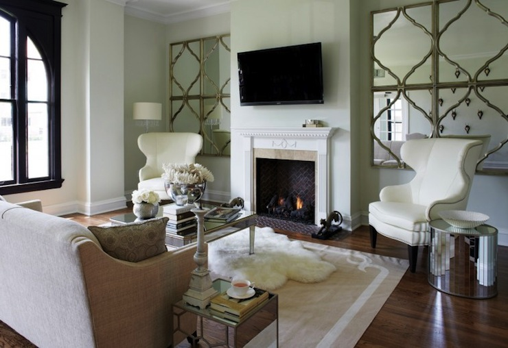 Quatrefoil Mirrors Contemporary Living Room York House