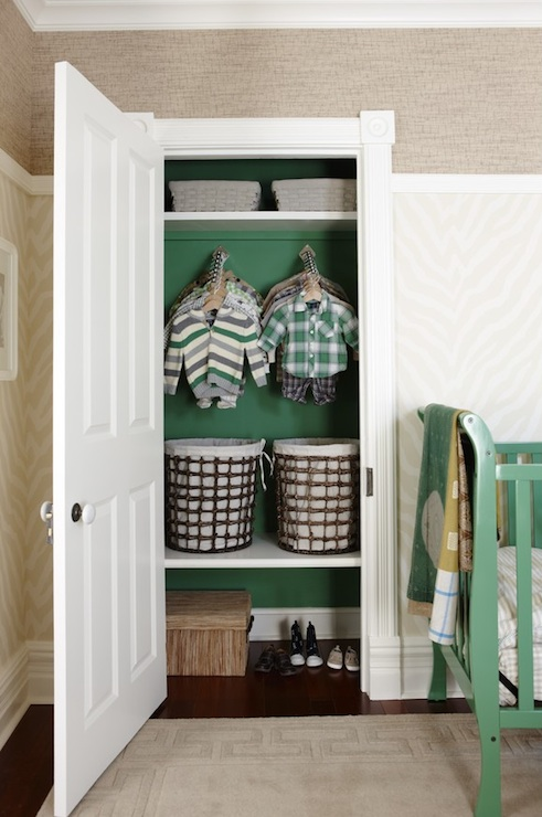 Sarah Richardson Design - nurseries - Para Paints - Mclennan Lane - Thibaut Designs Geometric Etosha Wallpaper - Grey, Thibaut Designs Corsica Grasscloth, boys closet, boys closet design, painted closet, kelly green paint, kelly green paint colors, hamper baskets, basket hampers, boys hampers, thibaut wallpaper, etosha wallpaper, etosha wallpaper, zebra wallpaper, zebra wallpaper, thibaut grasscloth, thibaut grasscloth wallpaper, sears crib, nursery crib, sears nursery crib, green crib, green nursery crib, painted crib, painted nursery crib, greek key rug, beige greek key rug, taupe rug, taupe greek key rug, corsica grasscloth,