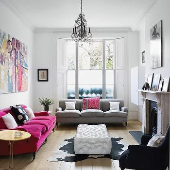 Hot Pink Sofa, Eclectic, living room, Harriet Anstruther