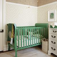 Sarah Richardson Design - nurseries: kelly green paint, kelly green paint colors, thibaut wallpaper, etosha wallpaper, etosha wallpaper, zebra wallpaper, zebra wallpaper, thibaut grasscloth, thibaut grasscloth wallpaper, sears crib, nursery crib, sears nursery crib, green crib, green nursery crib, painted crib, painted nursery crib, greek key rug, beige greek key rug, taupe rug, taupe greek key rug, corsica grasscloth, antique dresser, dresser turned changing table, wood mobile, nursery mobile, wood nursery mobile, gray ceiling, painted ceiling,