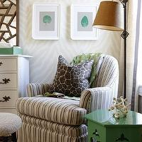 Sarah Richardson Design - nurseries - para paints, kelly green paint, kelly green paint colors, thibaut wallpaper, etosha wallpaper, etosha wallpaper, zebra wallpaper, zebra wallpaper, thibaut grasscloth, thibaut grasscloth wallpaper, greek key rug, beige greek key rug, taupe rug, taupe greek key rug, corsica grasscloth, homesense rug, kelly green table, green table, green accent table, kelly green accent table, hex table, green hex table, kelly green hex table, striped glider, striped nursery glider, antique dresser, dresser turned changing table, iron floor lamp, burlap lamp shade, Thibaut Designs Geometric Etosha Wallpaper - Grey, Thibaut Designs Corsica Grasscloth, Greentea Mirror,