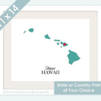 Art/Wall Decor - State or Country Love Map Silhouette 11x14 by AsYouWishPrinting - state, country, silhouette