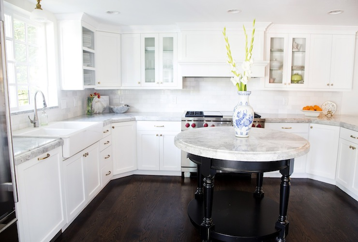 Super White Quartzite - Transitional - kitchen - White & Gold Design - Ikea Shaker Kitchen