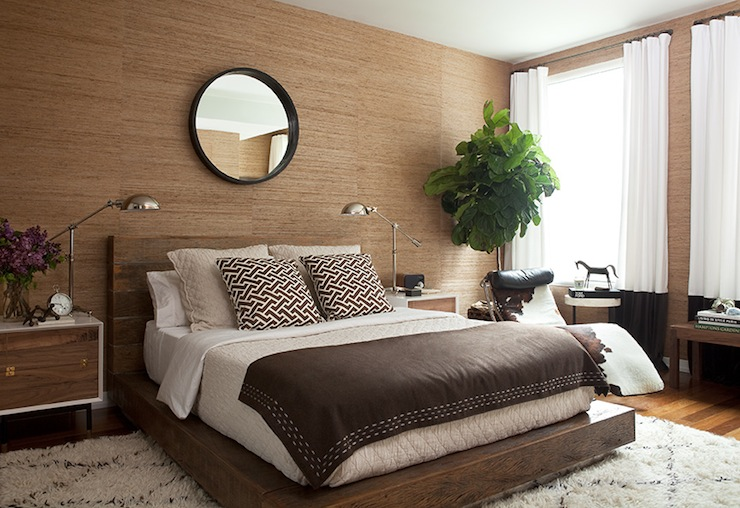 2 tone curtains contemporary bedroom jenny wolf for Brown bedroom wallpaper
