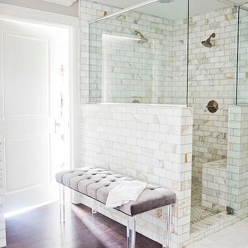 Calcutta Gold Marble, Contemporary, bathroom, Benjamin Moore Revere Pewter, White & Gold Design
