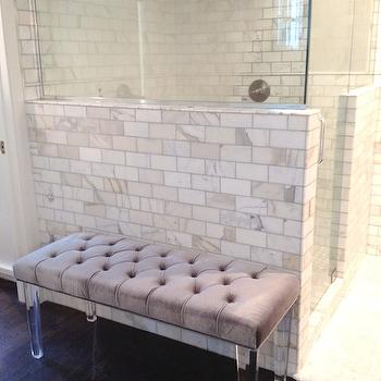 White & Gold Design - bathrooms - calcutta gold, marble, subway tiles, backsplash, lucite, base, lilac, purple, bench, cushion, lucite bench, tufted bench, lucite tufted bench,