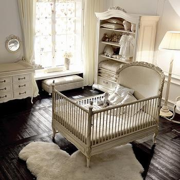 Savio Firmino - nurseries - french nursery, french nursery design, espresso wood floors, french crib, convertible crib, french convertible crib, white crib, white convertible crib, changing table, french changing table, white changing table, french mirrors, open armoire, french armoire, white armoire, french glider, french nursery glider, rocking glider, french rocking glider, white nusrery, white french nursery,