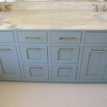"White & Gold Design - bathrooms: van courtland blue, double vanity, double bathroom vanity, his and her sinks, blue cabinets, blue bathroom cabinets, blue paint colors, marble countertop, marble top double vanity, blue washstand, 1"" hex tile, 1"" hex tile floor, hex tile floor, hex tile bathroom floor,"