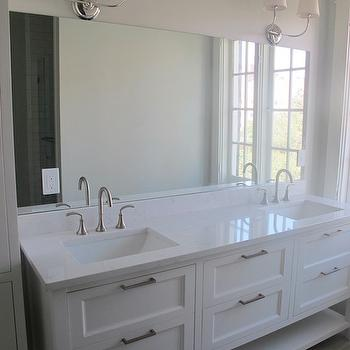 Cambria Torquay, Transitional, bathroom, Benjamin Moore White Dove, White & Gold Design