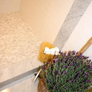 The Polished Pebble - bathrooms - french bathroom, marble tile shower floor, mosaic marble tile, mosaic marble shower floor,  Master bathroom