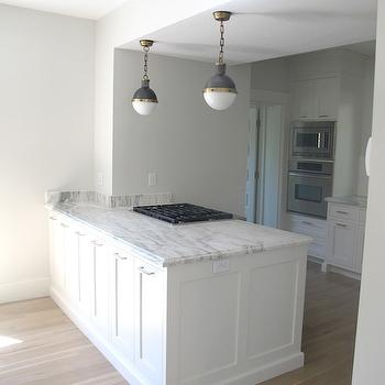 Gorgeous kitchen with white cabinets painted Benjamin Moore Glacier White, marble ...