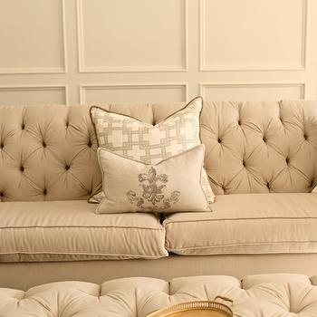 White & Gold Design - living rooms - wall moldings, decorative wall moldings, custom sofa, beige sofa, velvet sofa, tufted sofa, velvet tufted sofa, beige sofa, beige velvet sofa, beige velvet tufted sofa, thom filicia pillow, citysquare pillow, french pillow, grain sack pillow, vintage grain sack pillow, fleur de lis pillow, ottoman coffee table, ivory ottoman, velvet ottoman, tufted ottoman, velvet tufted ottoman, ivory ottoman, ivory velvet ottoman, ivory velvet tufted ottoman, Thom Filicia Citysquare Fabric,