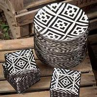 Decor/Accessories - Handpainted Black and White Patterned Ceramic Assorted Plates - black, white, plates