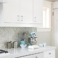 Sarah Richardson Design - kitchens - ikea cabinets, ikea kitchen cabinets, white diamond countertops, white countertops, white cabinets with white countertops, white kitchen cabinets with white countertops, mosaic tile, mosaic tile backsplash, mosaic backsplash, mosaic kitchen backsplash, mosaic kitchen tile, ikea oven, turquoise accents, turquoise blue accents, Ikea Cabinets, Eco by Cosentino White Diamond,