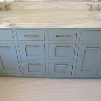 "White & Gold Design - bathrooms: van courtland blue, double vanity, double bathroom vanity, his and her sinks, blue cabinets, blue bathroom cabinets, blue paint colors, marble countertop, marble top double vanity, blue washstand, 1"" hex tile, 1"" hex tile floor, hex tile floor, hex tile bathroom floor,"