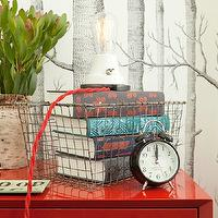 Jenny Wolf Interiors - bedrooms - woods wallpaper, red nightstand, red bedside table, glossy red nightstand, glossy red bedside table, red lacquer nightstand, red lacquer bedside table, vintage locker basket, West Elm Turned-Leg Nightstand in Vermillion Lacquer, Cole & Sons Woods Wallpaper,