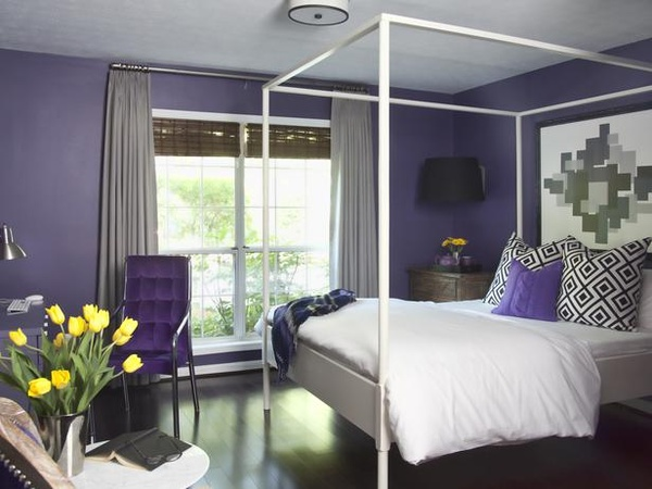 Headboards Ikea - Contemporary - bedroom - Decor Demon - Purple Curtains Ikea