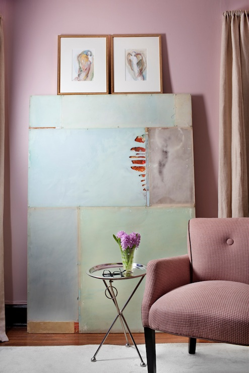 Decor Demon - living rooms - Ralph Lauren - Early Morning - blush pink, walls, tripod, tray, table, pink, chair,  Scott Laslie - Blush pink walls
